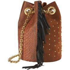 Delphine Delafon Studded/Fringe Python Pouch (39.355 RUB) ❤ liked on Polyvore featuring bags, handbags, clutches, brown, brown studded handbag, brown handbags, pouch handbags, brown fringe handbag and snakeskin print purse