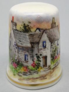 Cornish Cottage. Dunheved. Firmado D. Wilson. Thimble-Dedal-Fingerhut.