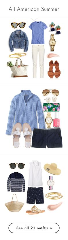 """""""All American Summer"""" by pinkngreennblack ❤ liked on Polyvore featuring J.Crew, Mark & Graham, Karen Walker, Earnest Sewn, mark., NARS Cosmetics, Kenneth Jay Lane, Kate Spade, Jack Rogers and Essie"""