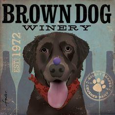 Brown Dog Chocolate Lab Wine Company original by geministudio, $79.00