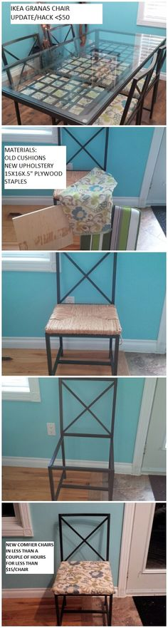 """My first Ikea Hack!  Our """"Granas"""" chairs were in desperate need of replacement, so I decided to update them. I was able to upcycle all four chairs for less than $50, using old cushions I already had with some new plywood and upholstery."""