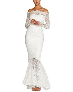 Lalagen Womens Floral Lace Long Sleeve Off Shoulder Wedding Mermaid Dress White L ** Check this awesome product by going to the link at the image-affiliate link. Long Sleeve Mermaid Dress, Lace Mermaid Wedding Dress, Mermaid Dresses, White Wedding Dresses, Cheap Wedding Dress, Wedding Party Dresses, Lace Dress, Bridesmaid Dresses, Lace Wedding