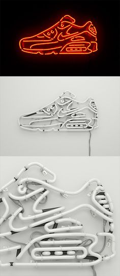 Air Max Neon by Rizon Parein Neon Wall Signs, Neon Sign Art, Sign Design, Design Art, Neon Sign Shop, Neon Words, 3d Typography, Sneaker Art, 3d Max