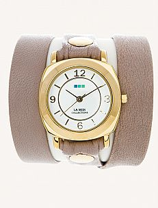 La Mer Collection Nude & Gold Odyssey Wrap Watch
