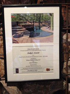 Solana Outdoor Living has been awarded with the 37th Annual ALCA Judges Award for Single Family Residential Installation.