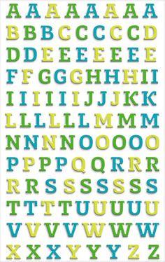 Stickers Alphabet bleu vert 3D Cooky Maildor  #alphabet #gommettesalphabet #stickersalphabet