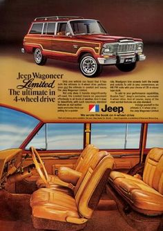 1987Jeep Grand Wagoneer - AMC 360 - (2004 - 2006) Ours was dark blue. I bought this as a project vehicle in hopes that I could flat tow the wrangler. It was a money pit. After correcting many electrical issues and replacing parts including the motor, I sold it. It needed a lot more work on the little things and 10mpg wasn't helpful. If I had to do this over, I would swap the engine for a diesel or fuel injected 350 install a mild lift and then work on the cosmetics.