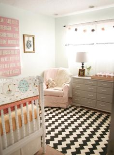 nurseries - Urban Outfitters Zigzag Rug Lay Baby Lay Narnia Prince Caspian Nursery Signs Print green blue walls white vintage crib thrift store pink slipcover chair gray painted vintage dresser