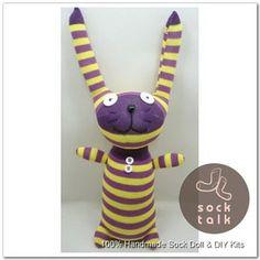 Handmade Yellow Purple Striped Sock Monkey Rabbit Stuffed Animals Baby Toy | eBay