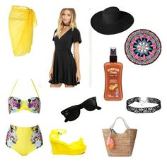 """Beach babe"" by jill-hubbard ❤ liked on Polyvore featuring LULUS, Lilly Pulitzer, Dorfman Pacific, Ray-Ban, PilyQ and Hawaiian Tropic"
