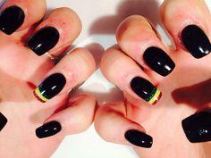 Sculpted acrylic black and rasta nails