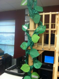 I love this beanstalk idea- she had the students respond to Jack and the Beanstalk and had the writing going up the vine, but I am picturing how I can apply it to my butterfly unit!