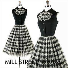 Vintage 1950s 50s Dress --- Black White Harlequin Plaid Diamond Chiffon Linen Party Cocktail Wedding Metal Zipper S M