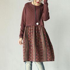 Red Cotton Linen Floral Dress
