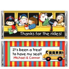 School Bus Driver  Stripes Candy Bar Wrapper-school, bus driver gift, school bus appreciation, school favor
