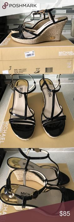 """Michael Kors Kami Sandals Worn once and in perfect condition. Gold hardware. Open toe. Adjustable buckled slingback strap. 4"""" espadrille wedge heel with MK logo. Rubber sole. Patent leather. Imported. Comes with the box. Michael Kors Shoes Platforms"""