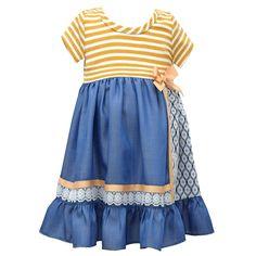 Girls 4-6x Bonnie Jean Red Stripe Chambray Dress, Size: 6X, Blue