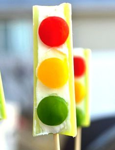 Stop Light Snacks (~_~) celery cream cheese and red,yellow and green peppers