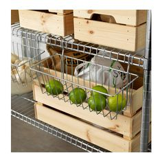 IKEA - OMAR, Clip-on basket, Transforms an unused area into a practical storage space for the small things you want to have close at hand.Easy to attach and remove. Cube Storage Unit, Ikea Storage, Storage Spaces, Storage Organizers, Cube Shelves, Pantry Organization, Basket Storage, Shop Storage, Pantry Ideas