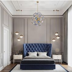 50 awesome master luxurious bedrooms idea on a budget 59 - Home Decor Interior Blue Bedroom Decor, Master Bedroom Interior, Modern Bedroom Design, Bedroom Designs, Home Interior, Home Bedroom, Interior Design, Bedroom Furniture, Bedroom Small