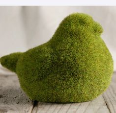 """Moss Covered 6"""" Birds $ 8.50 each / 3 for $ 8 each    Faux moss on a resin bird  Moss topiary  4.75"""" tall x 6.25"""" long x 4.25"""" wide"""