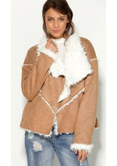 Kabát v semišovom vzhľade #ModinoSK Fur Coat, Ruffle Blouse, December, Jackets, Sewing, Women, Fashion, Templates, Hair