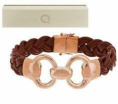 Bronzo Italia Status Link Braided Camel Leather Bracelet