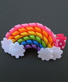 Take a look at this Rainbow Hair Clip today! Ribbon Hair Clips, Ribbon Art, Ribbon Hair Bows, Diy Hair Bows, Diy Bow, Diy Ribbon, Ribbon Crafts, Diy Crafts, Diy Accessoires