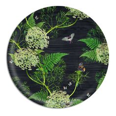 0 Dill Black Wood Large Round Tray
