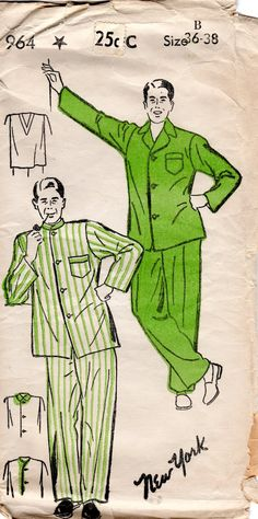 1940s Men's Pajamas Pattern  Vintage New York 964  by ErikawithaK