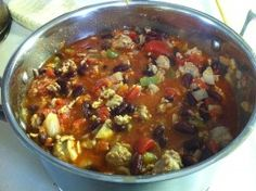 Hearty Pork and Sausage Chili Sugar Free Recipes, Paleo Recipes, Crockpot Recipes, Soup Recipes, Paleo Meals, World's Best Food, Good Food, Yummy Food, Great Chili Recipes