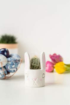 DIY Easter Bunny Cactus Planter