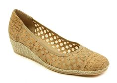 Perforated cork espadrille with gold-flecked braided rope wedge. Cork cap toe, rubber bottom and 1-3