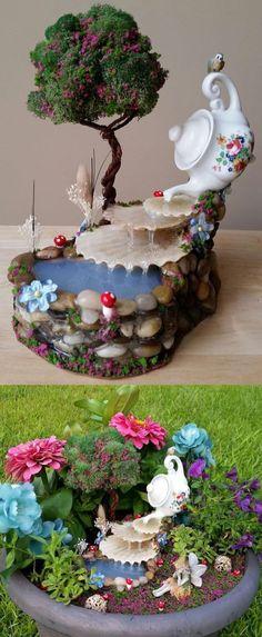 16 Tiny and Adorable Magical DIY Fairy Garden Ideas - Fairy garden waterfall - Fairy Garden Plants, Mini Fairy Garden, Fairy Garden Houses, Diy Garden, Gnome Garden, Garden Art, Garden Design, Fairy Gardening, Organic Gardening
