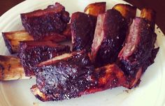 meaty delicious slow-smoked beef ribs