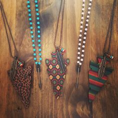Arrowhead Necklace comes in THREE different prints {{LEOPARD/TRIBAL/SERAPE}} $28 PLUS 10% off with code KELSEY10