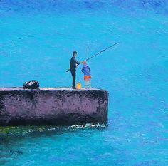 Beach painting, Beach decor, beach art, coastal decor, beach house style, coastal living, beach home interiors, beach house decorating, beach prints, canvas art, fishing.