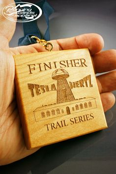 Wood race medals are perfect for trail races. Engraved with your race logo. | Running Awards and Apparel