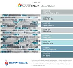 I found these colors with ColorSnap® Visualizer for iPhone by Sherwin-Williams: Colonial Revival Gray (SW 2832), Little Boy Blu (SW 9054), Smoky Azurite (SW 9148), North Star (SW 6246), Agua Fría (SW 9053), Quench Blue (SW 6785), Bluebird Feather (SW 9062), St. Bart's (SW 7614).