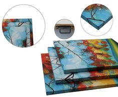 95eb1defa42 OdeRin Art Modern Abstract Landscape Tree 3 Pieces Wall Art Artwork Blue  Framed Giclee Canvas Prints