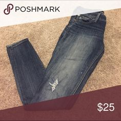 Express Jean leggings Express, slightly distressed Jean leggings. Size 2, regular length. Express Jeans Skinny