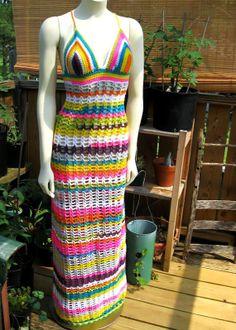 Beautiful Hand-crocheted - Bohemian Hippie Summer dress - Rainbow Stripes on Etsy, $225.00