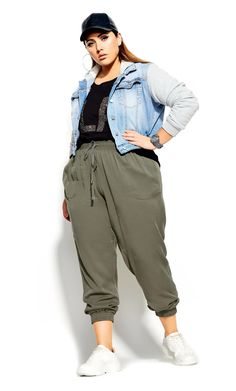 Trending now is the soft touch, relaxed fit casual wear Unwind Pant. Key Features Include: - Elasticated drawcord waistband - Relaxed fit - Side pocke... Denim Jogger Pants, Curvy Women Fashion, Womens Fashion, City Chic Online, Plus Size Pants, Trending Now, Black Pants, Casual Wear, Fitness Models