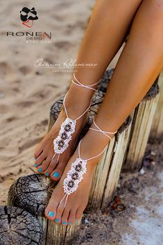 White Beach Wedding Beaded Crochet Barefoot Sandals by RonenDesign