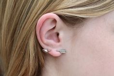 Vintage Navajo Sterling Silver Arrow Through the Ear Screw Back Earrings
