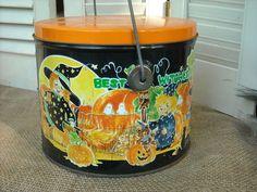 Halloween Trick Treat Candy  Tin Pumpkins Witches Fortune Teller  Ghost Lozan #TrickortrickcandyTin