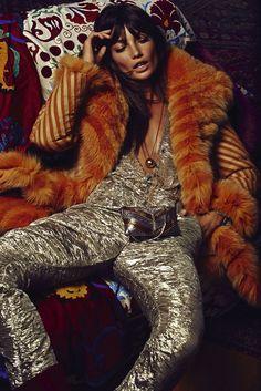 Rockstar look: Smokey eye makeup, bed-head, orange fur jacket, and a gold jumpsuit // Lily Aldridge shot by David Roemer for S Moda