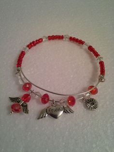 Handmade Alex & Ani Inspired Red Beaded Friend Charm Adjustable Wire Bracelet  #Handmade #Charm