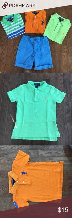 Polo shirt and 1 shorts bundle Bright preppy polo shirt bundle for your little one.  Comes with one pair of shorts that is adjustable at the waist.  All 4 pieces are size 4T.  All in good useable condition.  Mia of brands include polo Ralph Lauren, U.S. Polo Assn and babygap. Shirts & Tops Polos