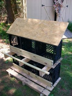 really clever - nesting boxes made from plastic milk crates